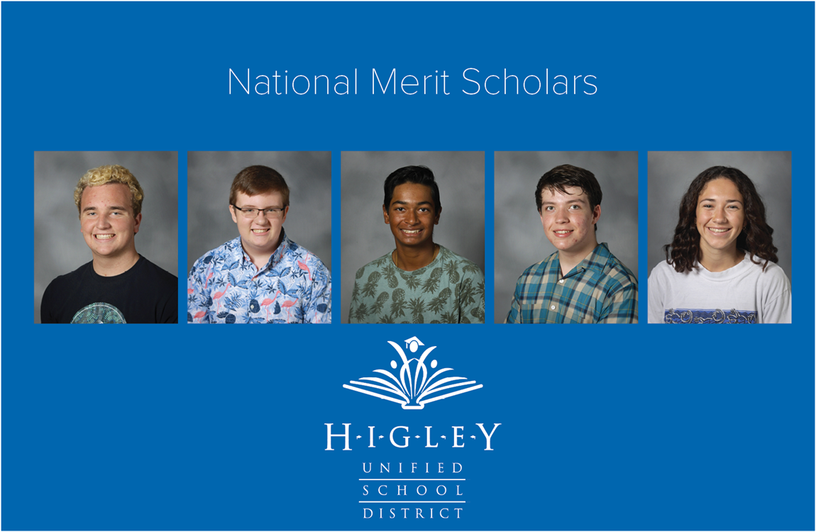 Five student pictures with National Merit Scholars written above.