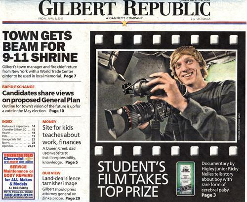 Student's Documentary Film Takes Top Prize, Newspaper Headline