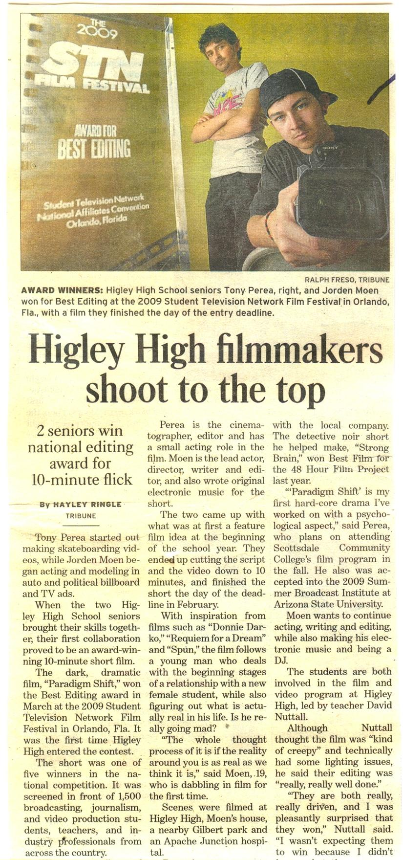 Higley Filmmakers shoot to the top, winning Higley High School's first national film award. Students won Best Editing for their film submission, Paradigm shift.