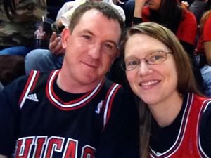 My husband Dan and myself enjoying the Bulls game.