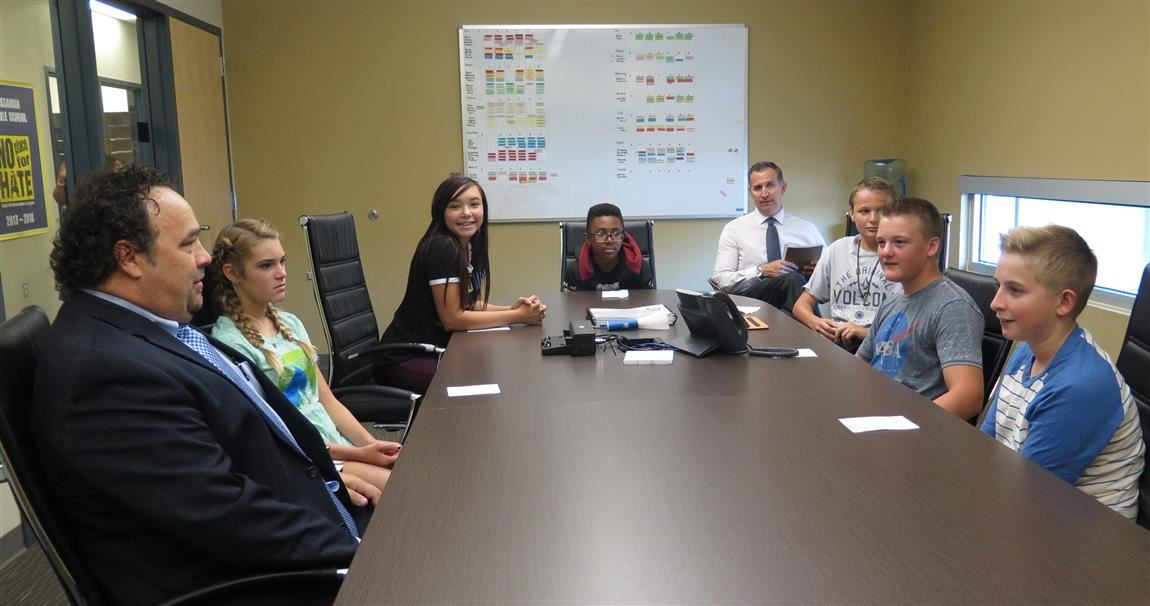 Superintendent visits with students
