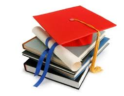 Books with a graduation cap
