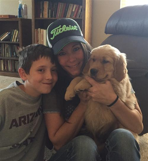Ms. Culver, Son, and Puppy