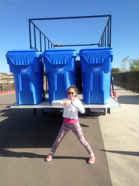 Recycle Bins being delivered to Bridges. That's one happy CSO.