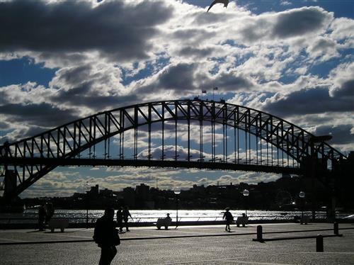 Picture of the Sydney Bridge in Australia. Right outside of the Sydney Opera House.