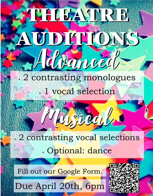Audition for Advanced Classes for 2020-2021 School Year. Fill out a google form! Link below image.