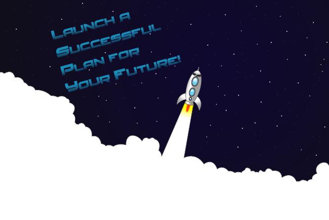 Rocket blasing off to space graphc