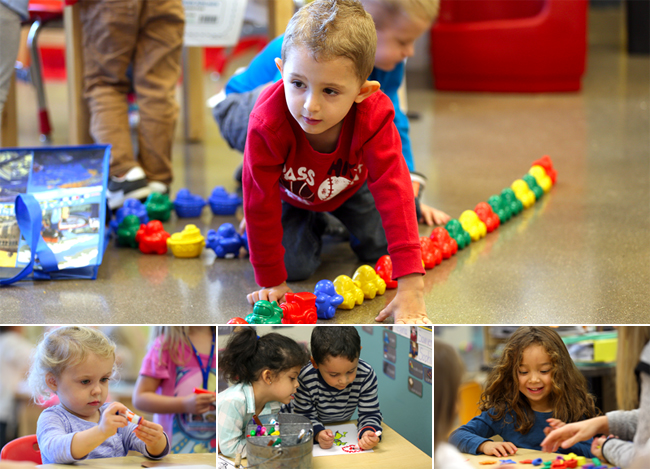 Collage of preschool kids learning